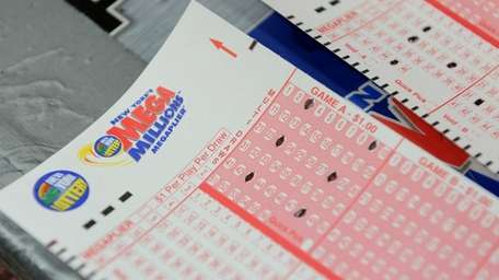 Mega Millions lottery ticket forms at a Manhattan