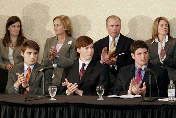 Seated from left, Duke lacrosse players David Evans,