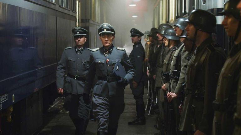 Burn Gorman as Colonel Skorzeny in a scene