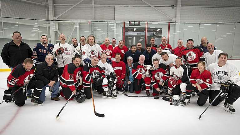 Several generations of Patchogue-Medford High School hockey players