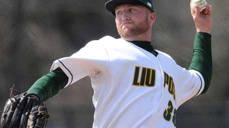 LIU Post pitcher Mike Eckerle delivers a pitch