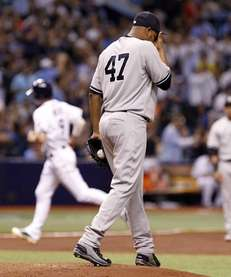 Ivan Nova of the Yankees reacts on the