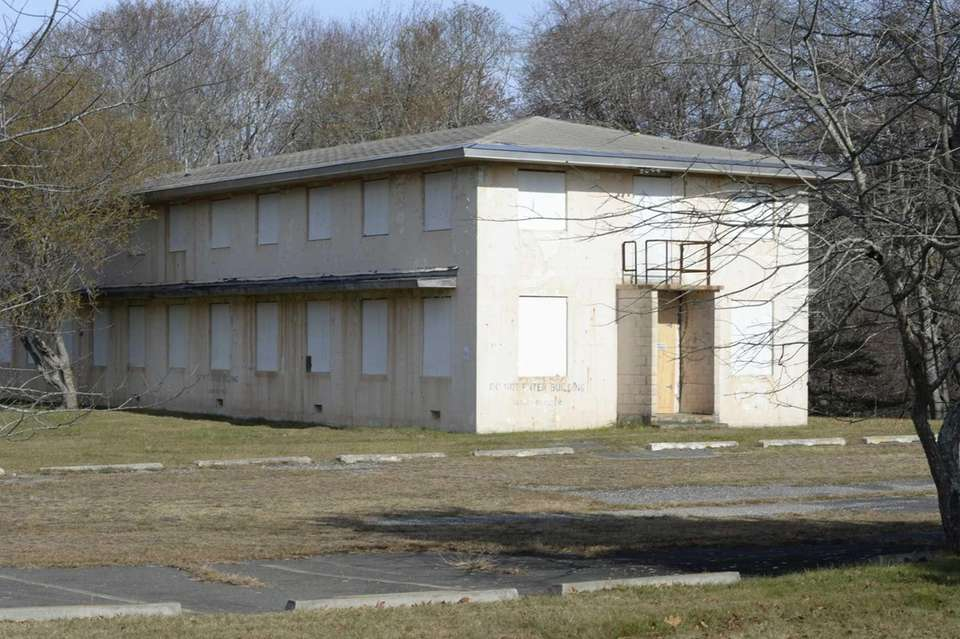 One of the boarded-up buildings at Camp Hero