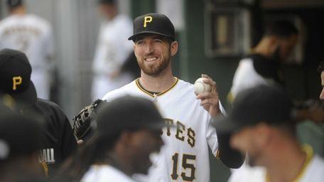 Ike Davis of the Pittsburgh Pirates walks in