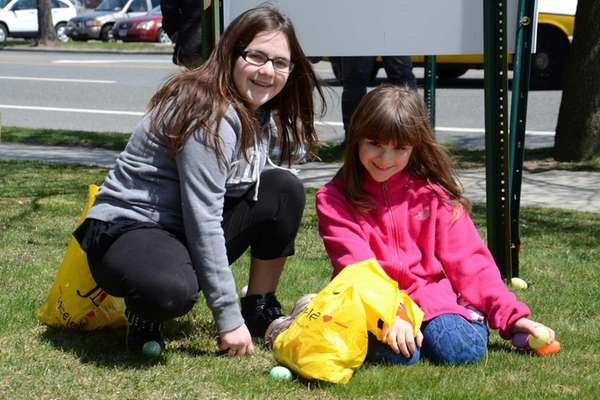 From left, Bellmore residents Carleen Plate, 12, and