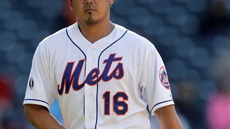 Mets pitcher Daisuke Matsuzaka comes off the mound