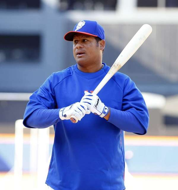 Bobby Abreu looks on during batting practice before