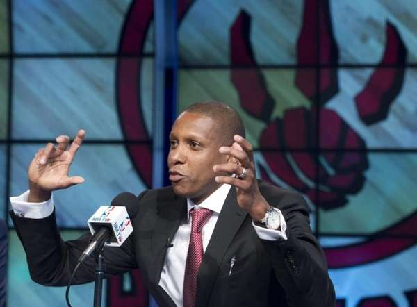 Toronto Raptors general manager Masai Ujiri gestures during