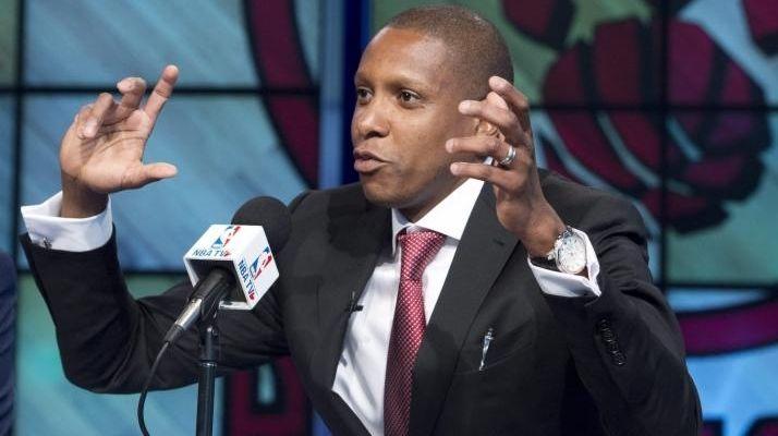 Toronto Raptors general manager Masai Ujiri gestures during