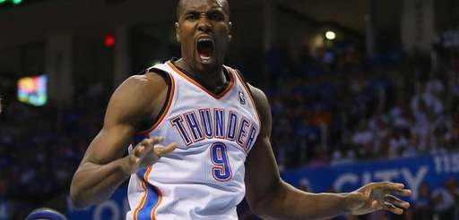 Serge Ibaka #9 of the Oklahoma City Thunder