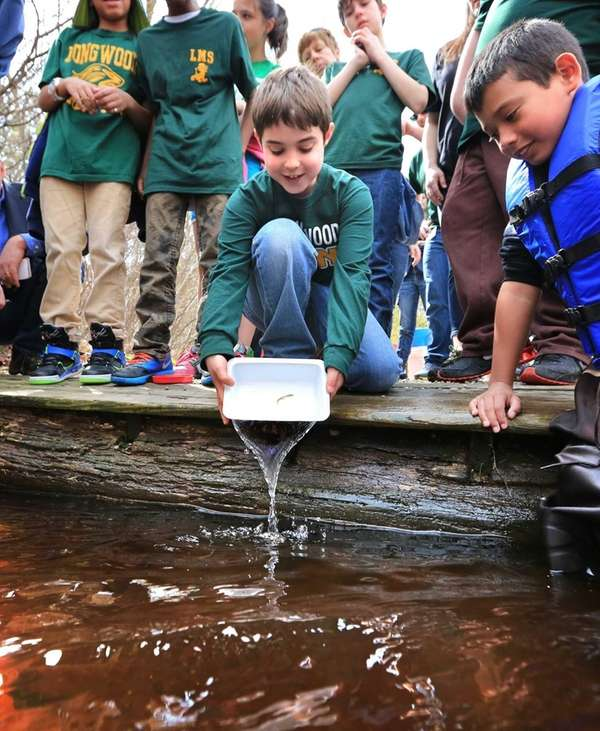 Students from Longwood Middle School released hundreds of