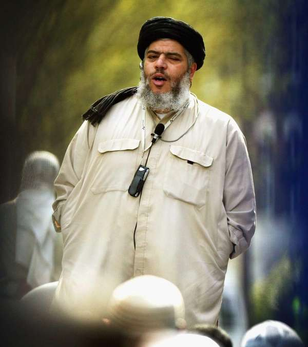 British Imam Abu Hamza al-Masri in London in