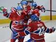 Montreal Canadiens' Daniel Briere celebrates with teammates Michael