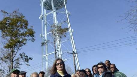The 300,000-gallon tank, owned by the Suffolk County