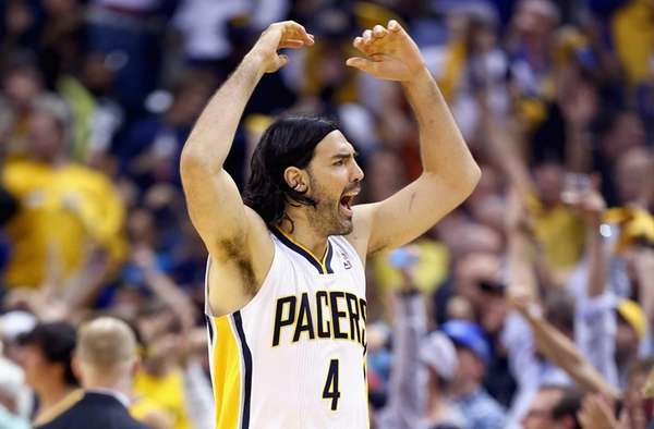 Luis Scola of the Indiana Pacers celebrates his