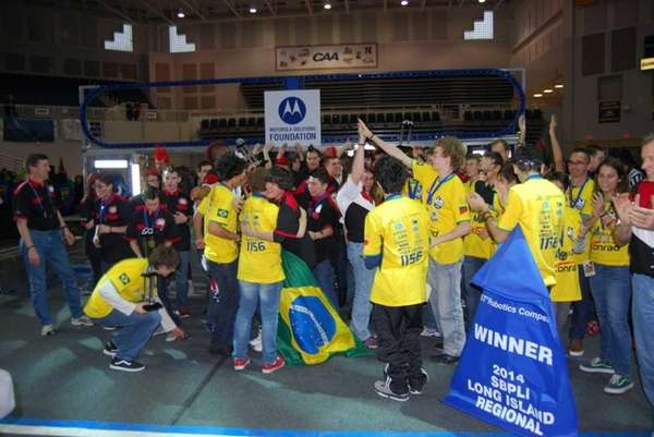 Patchogue-Medford High School's robotics team, pictured here in