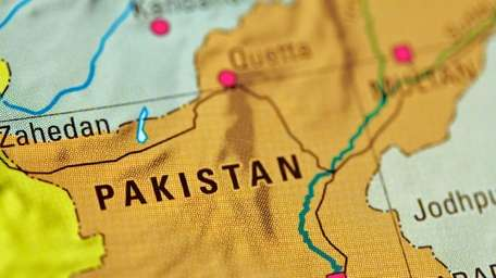 Pakistan pictured on a map