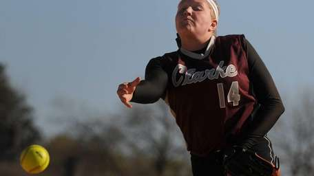 Clarke pitcher Sarah Cornell delivers to the plate