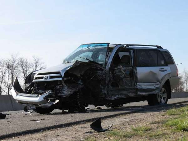 Nassau County police investigate a two-vehicle wrong-way-driver accident
