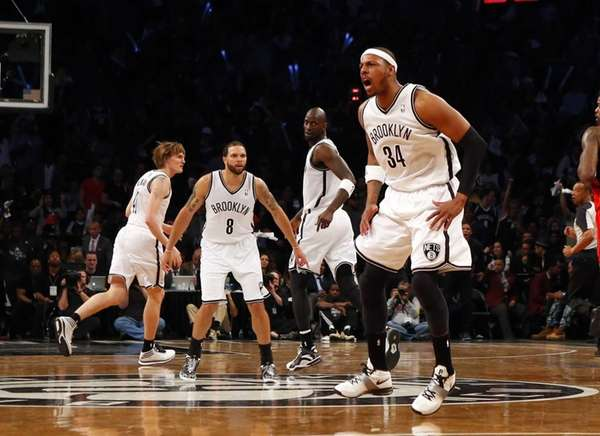 Paul Pierce of the Nets reacts after a