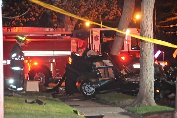 Westbury firefighters and Nassau police respond to a