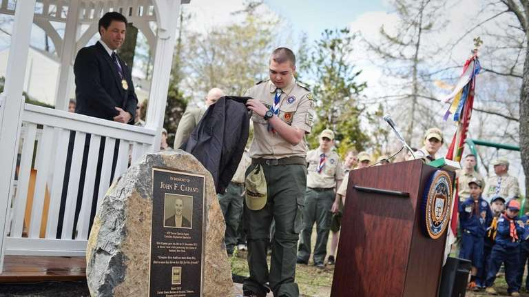 Seaford Boy Scout Cory Levy unveils a dedicated