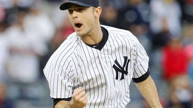 David Robertson of the Yankees reacts after getting