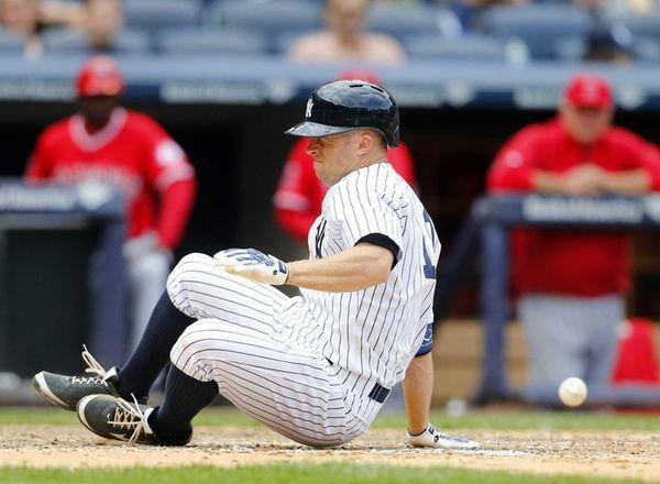 Brett Gardner is hit by a pitch in
