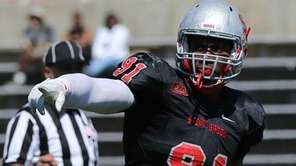Stony Brook defensive lineman Victor Ochi calls the