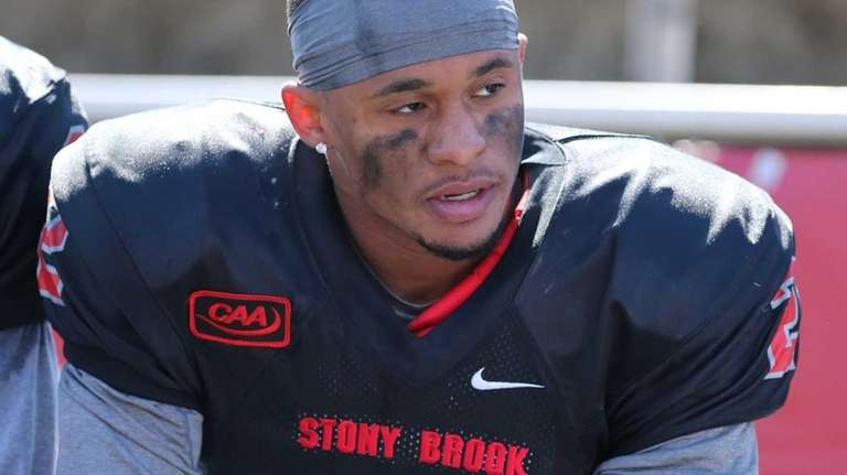 Stony Brook defensive back Davonte Anderson is seen