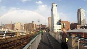 An image of a rainbow over Manhattan taken