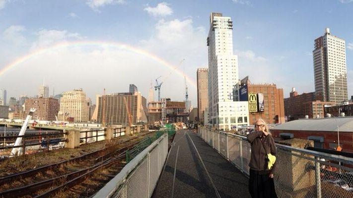 An image of a rainbow over Manhattan taken