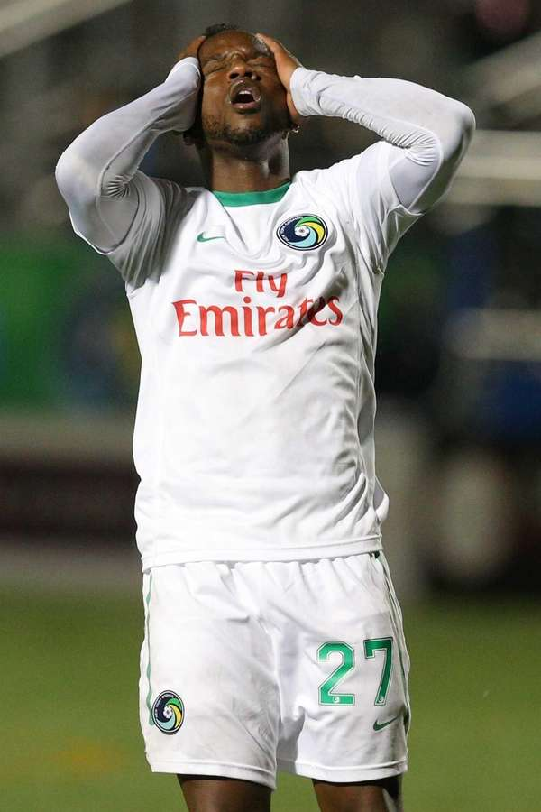 Cosmos midfielder Jemal Johnson reacts as his shot