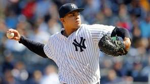 Dellin Betances of the Yankees pitches against the
