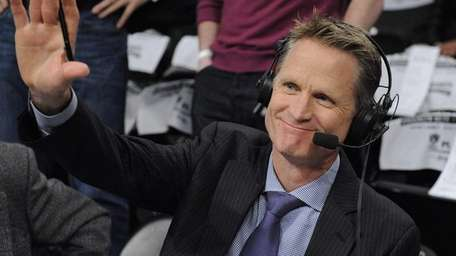 Steve Kerr is seen at court side at