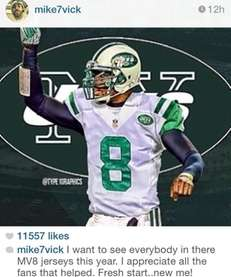 Jets quarterback Michael Vick thanked Jets fans on