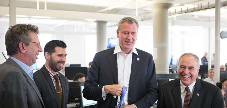 Mayor Bill de Blasio at the offices of