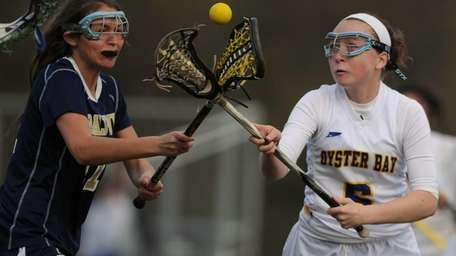 Oyster Bay's Grace Wygand, right, and Baldwin's Julia
