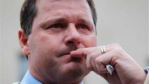 Former MLB pitcher Roger Clemens pauses as he