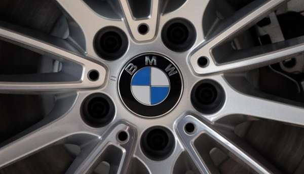 The company logo of car manufacturer BMW is