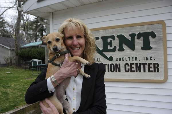 Pamela Green with dogs at Kent adoption center.