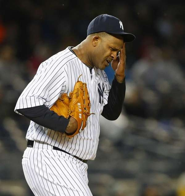 CC Sabathia of the Yankees stands on the