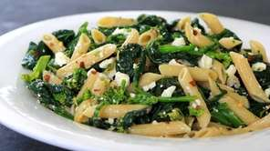 Penne, broccoli rabe, crushed red pepper and feta