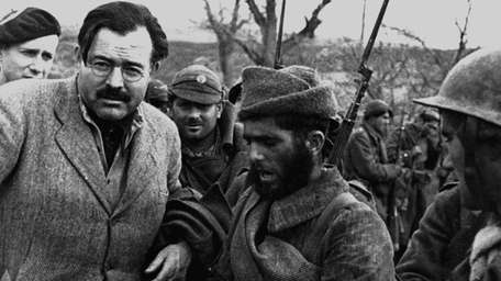 Ernest Hemingway at the front lines during the