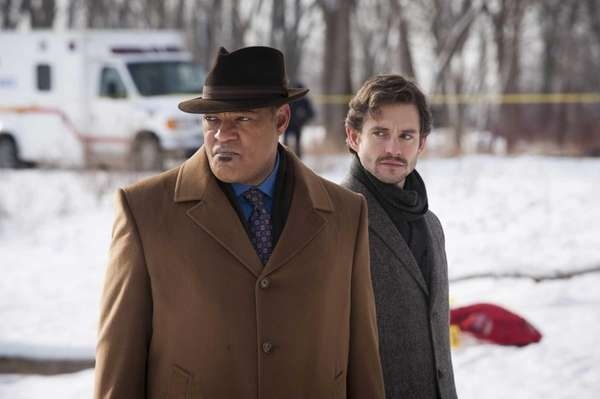 Laurence Fishburne as Jack Crawford, left, and Hugh