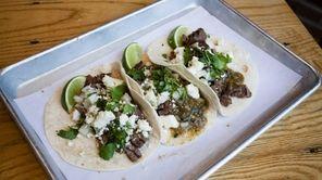 Carne asada street tacos, with salsa verde, raw