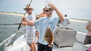 Mate Zach Hindin, brings aboard a fluke during