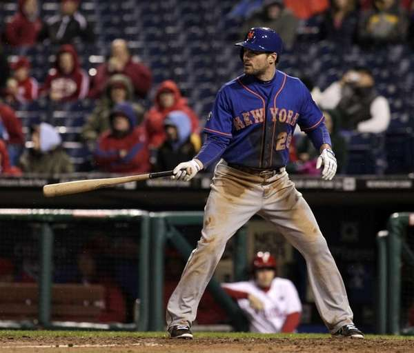 Daniel Murphy waits for a pitch from the