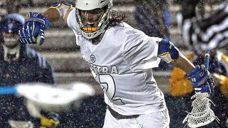 Hofstra's John Reicherter celebrates a goal during a