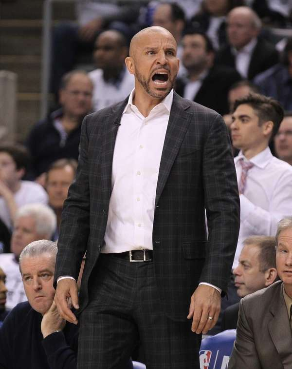 Jason Kidd reacts to a call during play